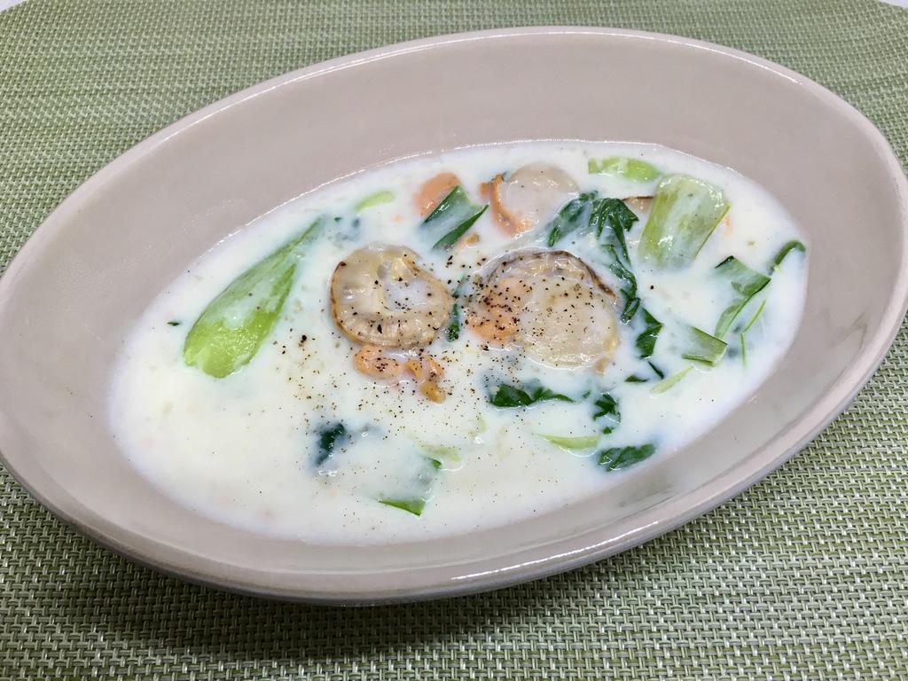 ホタテとチンゲン菜のクリーム煮
